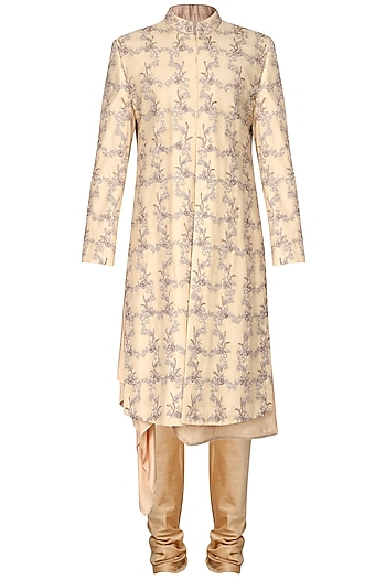 Gold Floral Embroidered Sherwani by Amaare