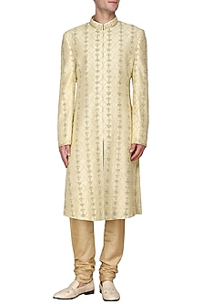 Gold Dabka Embroidered Sherwani by Amaare