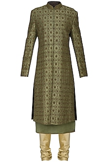 Mehendi Green Embroidered Sherwani by Amaare