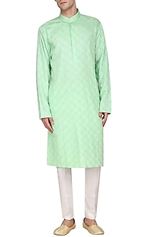Pista Green Pintucks Kurta by Amaare