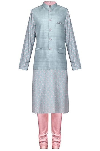 Grey Embroidered Kurta with Nehru Jacket by Amaare