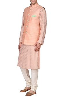 Peach Embroidered Kurta with Nehru Jacket by Amaare