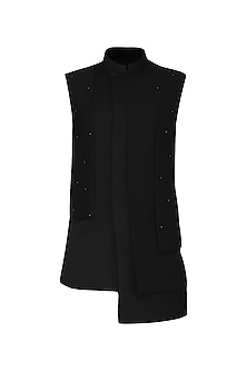 Black Asymmetrical Textured Nehru Jacket by Amaare