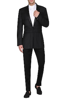 Black Pintucks Tuxedo Jacket by Amaare