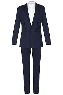 Navy Blue Pintucks Textured Tuxedo Jacket by Amaare