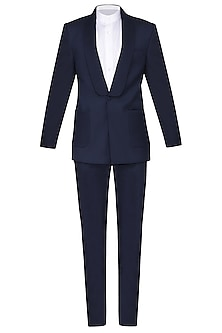 Navy Blue Pintucks Wool Tuxedo Jacket by Amaare