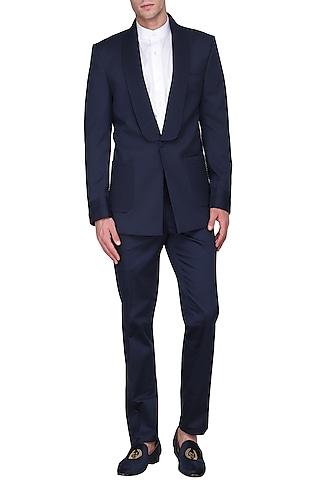 Navy Blue Pintucks Wool Tuxedo Jacket by Amaare