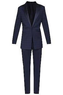 Navy Blue Checkered Pintucks Tuxedo Jacket by Amaare