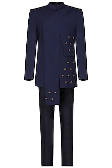 Navy blue embroidered bandhgala jacket with pants by Amaare