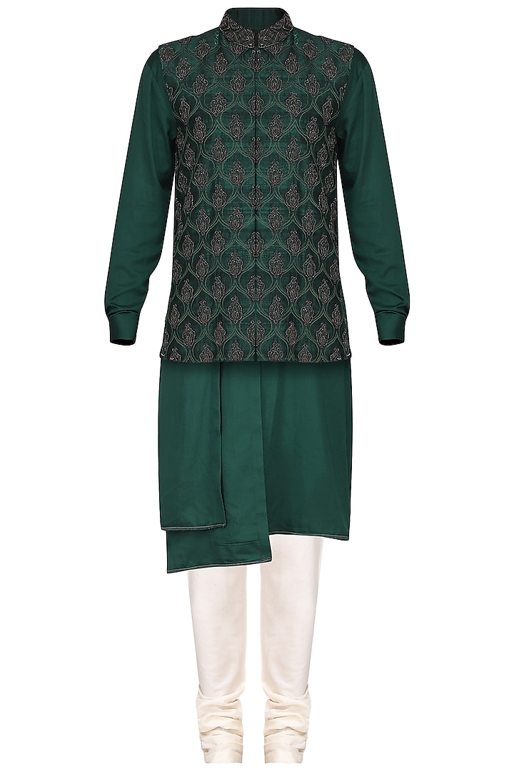 Green Embroidered Nehru Jacket Set by Amaare