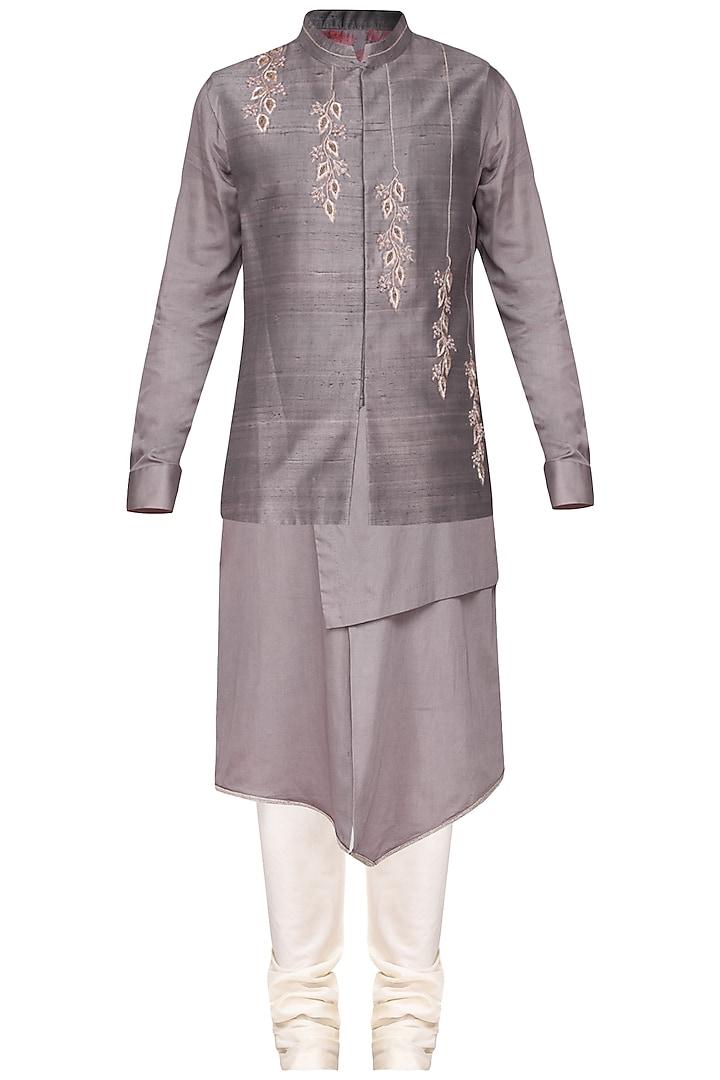 Grey Kurta Set With Embroidered Nehru Jacket by Amaare