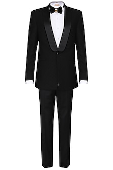 Black pintucked tuxedo with trousers by Amaare