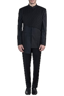 Black bandhgala jacket with pants by Amaare