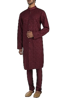Wine embroidered kurta with pants by Amaare