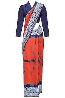 Navy Blue and Orange Tye and Dye Saree and Blouse Set by Priti Sahni