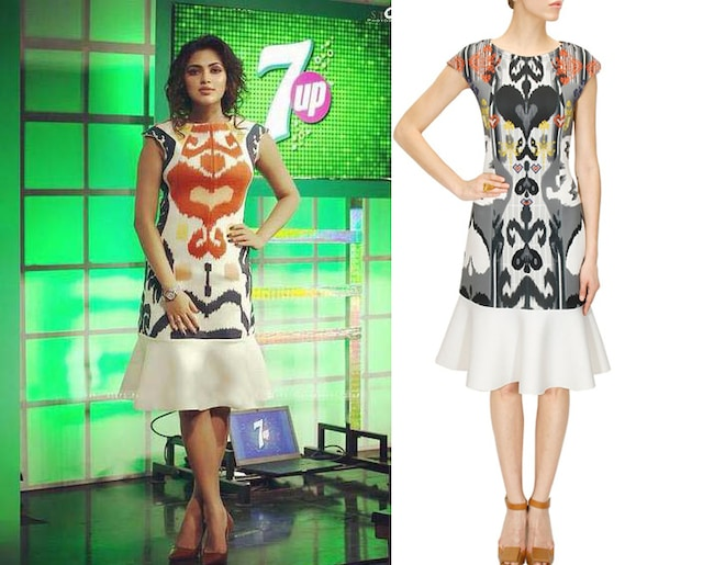 Heart print ikat dress by Hemant and Nandita