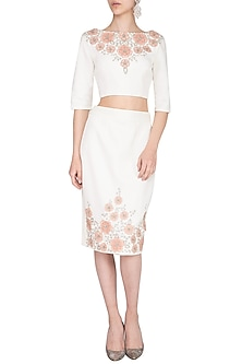 Off White Embroidered Crop Top by AGT by Amit GT