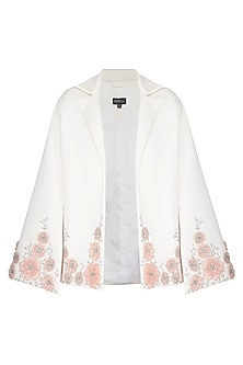 Off White Embroidered Jacket by AMIT GT