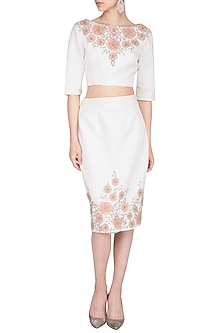 Off White Embroidered Skirt by AGT by Amit GT