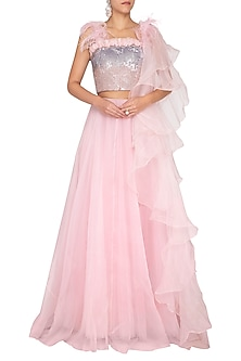 Pink Embroidered Ruffled Lehenga Set by AMIT GT