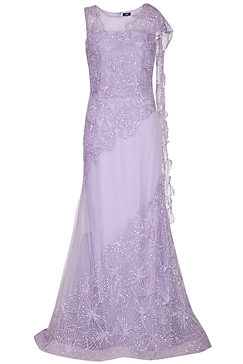 Mauve Embroidered Gown Saree by AMIT GT