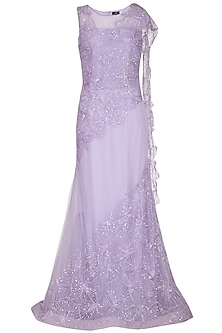 Mauve Embroidered Gown Saree by AGT by Amit GT