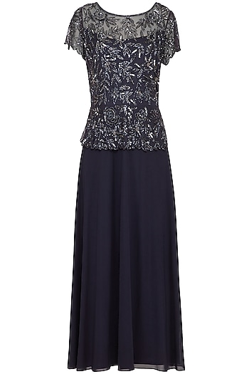 Dark Blue Embroidered Gown by AMIT GT