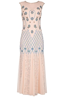 Peach Embroidered Gown by AMIT GT