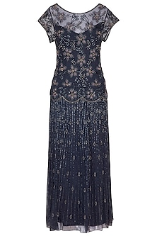 Blue Embroidered Gown by AMIT GT