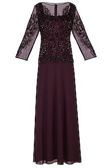 Maroon Embroidered Gown by AMIT GT
