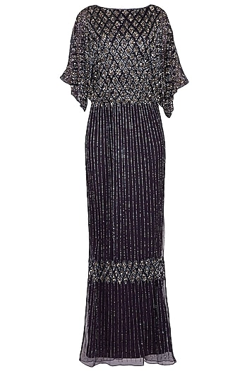 Dark Purple Embroidered Cold Shouldered Gown by AGT by Amit GT