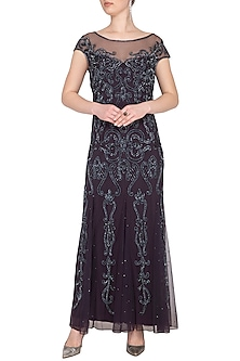 Dull Maroon Embroidered Gown by AMIT GT