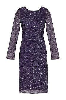 Purple Embroidered Draped Dress by AMIT GT