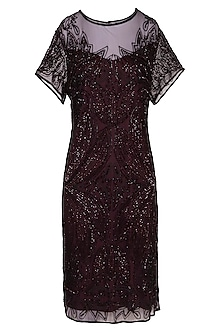 Maroon Embroidered Dress by AMIT GT