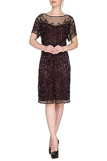 Maroon Embroidered Dress by AGT by Amit GT