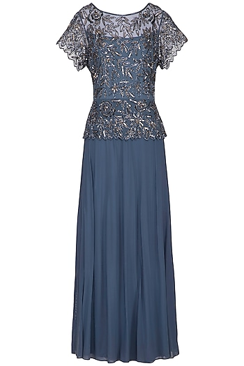 Light Blue Embroidered Gown by AMIT GT