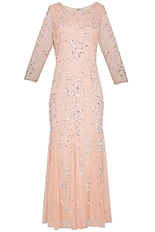 Peach Embroidered Maxi Gown by AMIT GT
