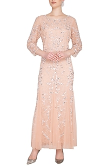 Peach Embroidered Maxi Gown by AGT by Amit GT
