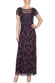 Maroon Embroidered Maxi Gown by AMIT GT