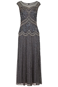 Grey Embroidered Maxi Gown by AMIT GT