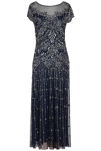 Navy Blue Embroidered Maxi Gown by AGT by Amit GT