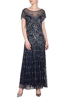 Navy Blue Embroidered Maxi Gown by AMIT GT