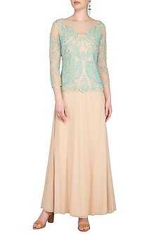 Peach Hand Embroidered Gown by AMIT GT