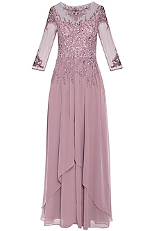 Lavender embroidered gown by AMIT GT