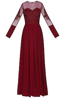 Maroon embellished gown by AMIT GT