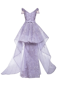 Mauve embroidered gown by AMIT GT