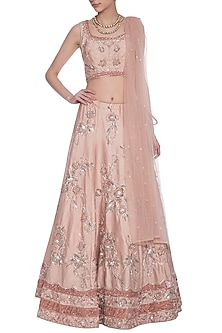 Rosewood embroidered lehenga set by AGT BY AMIT GT