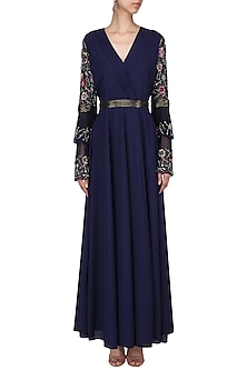 Navy Embroidered Bell Sleeves Maxi Dress by AGT By Amit GT