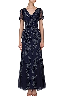 Blue Heavy Beaded Gown by AMIT GT