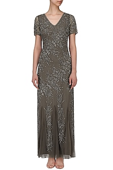 Grey Heavy Beaded Gown by AMIT GT